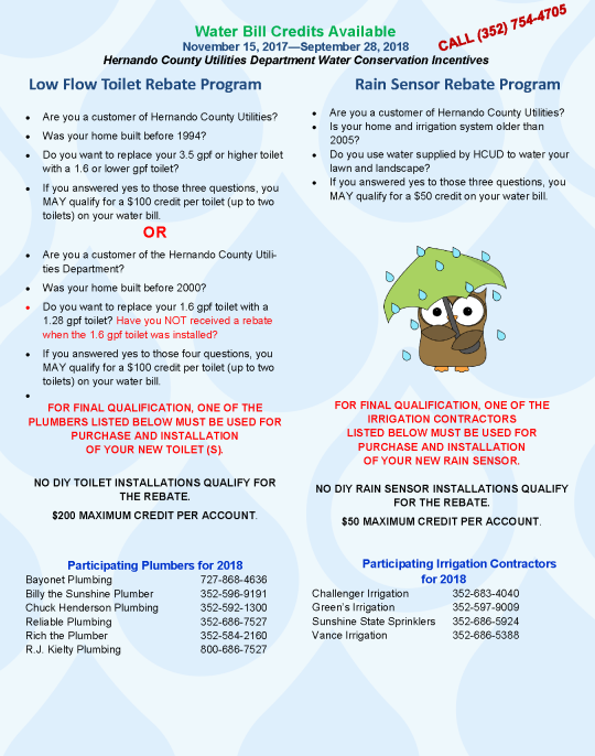 Water Conservation Customer Incentives | Hernando County, FL