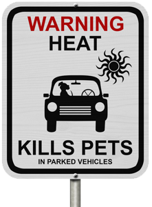 "Warning Sign ""Heat Kills Pets In Parked Vehicles"""