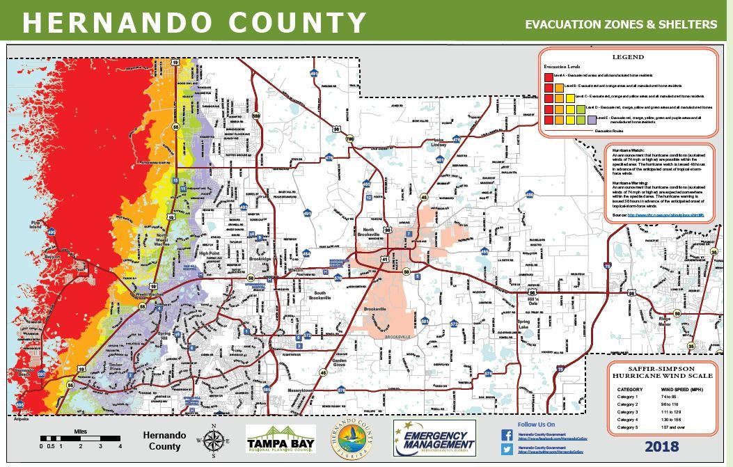 evacuation routes zones hernando county fl