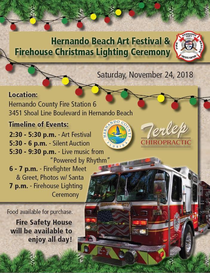 A Firehouse Christmas.Hernando Beach Art Festival Firehouse Christmas Lighting