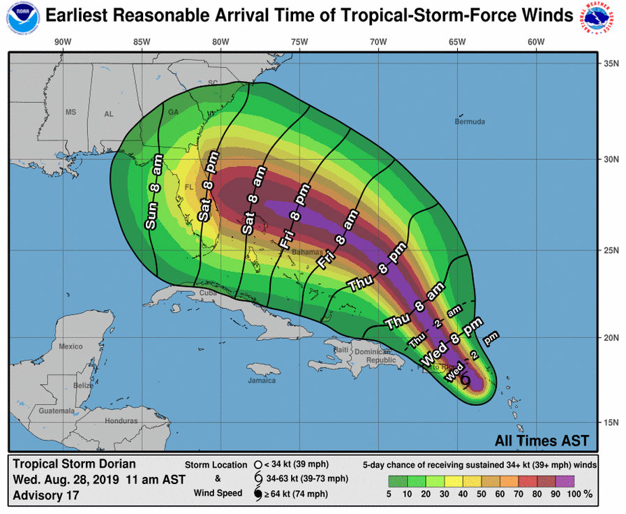 Earliest Reasonable Arrival Time of Tropical-Storm-Force Winds Map