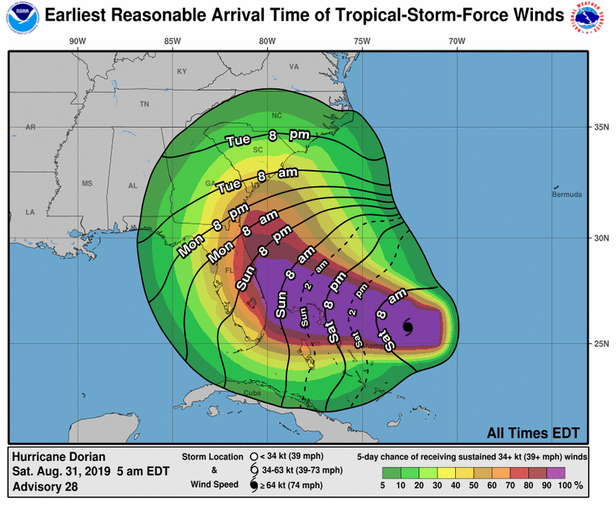 Earliest reasonable arrival time of tropical-storm-force winds map 8-31-2019 5AM Update