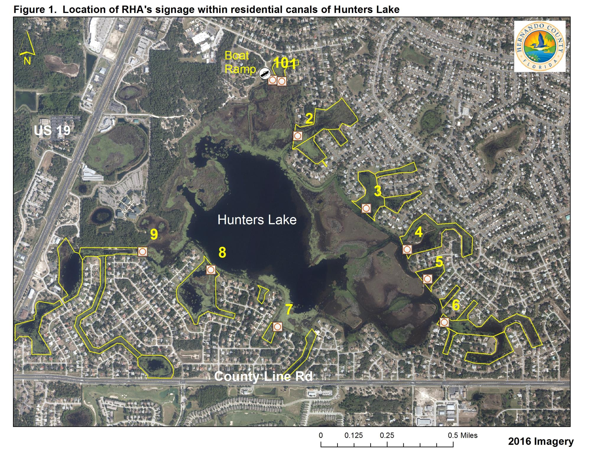 Map of Locations of Restricted Hunting Area Signage Within Residential Canals of Hunters Lake