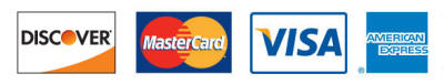 accepted cards are Discover, Mastercard, VISA, and American Express